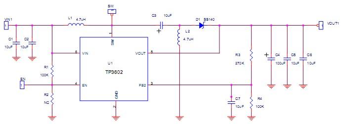 同步升压DC-DC TP3602自动升降压电路图